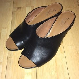 Franco Sarto blk leather open toe slide mule heel